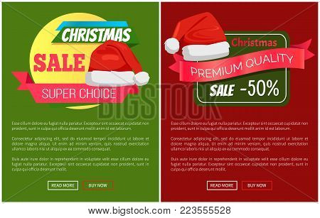 Super quality premium choice Christmas sale promo label Santa Claus hat, ribbon with text on color background advertisement badge on online posters