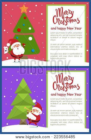 Merry Christmas and Happy New Year greeting card with Santa singing songs and playing on trumpet near Xmas tree on snowy backdrop vector illustrations