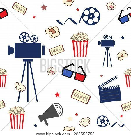 Cinema. Seamless pattern with movie elements in flat style. Camera, tickets, popcorn, glasses, and other. Vector illustration