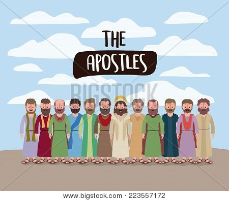 the apostles and jesus in daily scene in desert in colorful silhouette vector illustration