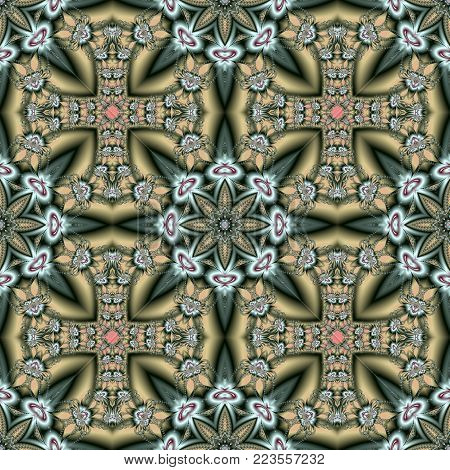 Beautiful pattern with floral circle ornament. You can use it for invitations, notebook covers, phone case, postcards, cards, ceramics, carpets. Artwork for creative design.