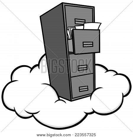 Cloud Storage Illustration - A vector cartoon illustration of a Cloud Storage concept.