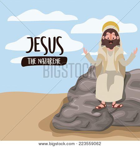 jesus the nazarene in scene in desert sitting on the rocks in colorful silhouette vector illustration
