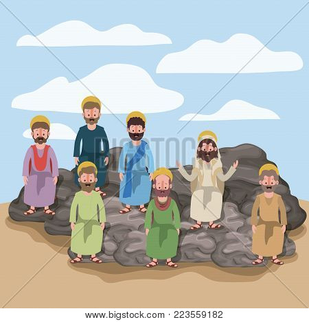 scene in desert with apostles sitting on the rocks in colorful silhouette vector illustration