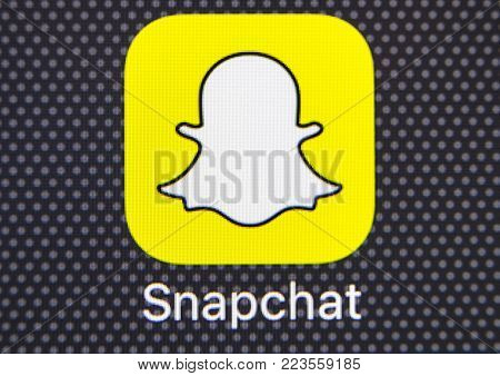 Sankt-Petersburg, Russia, January 25, 2018: Snapchat application icon on Apple iPhone 8 smartphone screen close-up. Snapchat app icon. Snapchat is an online social networking service. Macro shot