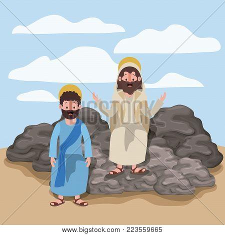 jesus the nazarene and philip in scene in desert sitting on the rocks in colorful silhouette vector illustration