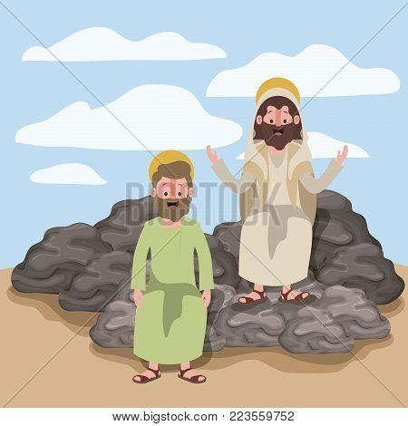 jesus the nazarene and thaddeus in scene in desert sitting on the rocks in colorful silhouette vector illustration