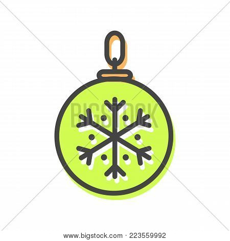 Ball with tread that allows to hang ot on Christmas evergreen tree, icon of bauble decoration of pine, vector illustration isolated on white