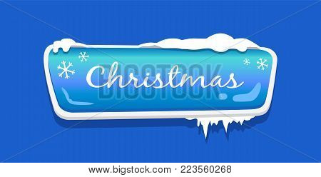 Christmas web push button covered with snow and decorated by snowflakes vector illustration online shopping sign isolated on blue website label icon