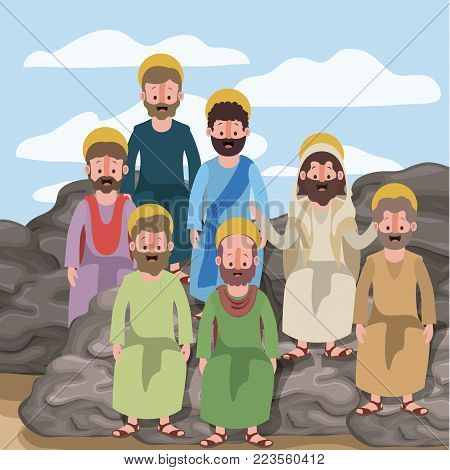 scene in desert with group of apostles next to the rocks in colorful silhouette vector illustration