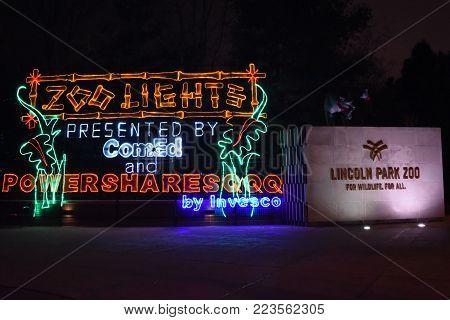 Christmas Holiday Season Zoo Lights Entrance Sign, Lincoln Park Zoo, Chicago, December 13, 2017