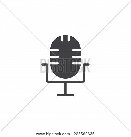 Microphone icon vector, filled flat sign, solid pictogram isolated on white. Voice record symbol, logo illustration.