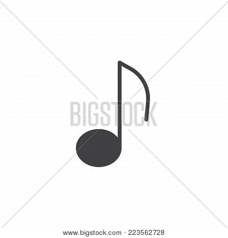 Musical note icon vector, filled flat sign, solid pictogram isolated on white. Quaver or eighth music note symbol, logo illustration.