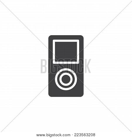 MP3 player icon vector, filled flat sign, solid pictogram isolated on white. Portable media player symbol, logo illustration.