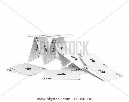 Dollar Card Tower. Isolated On The White Background