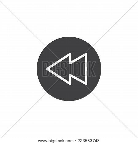 Rewind button icon vector, filled flat sign, solid pictogram isolated on white. Symbol, logo illustration.