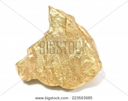 beautiful big Gold ore in the boulder , precious stone in macro shot on white background