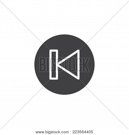 Back track button icon vector, filled flat sign, solid pictogram isolated on white. Previous sound symbol, logo illustration.