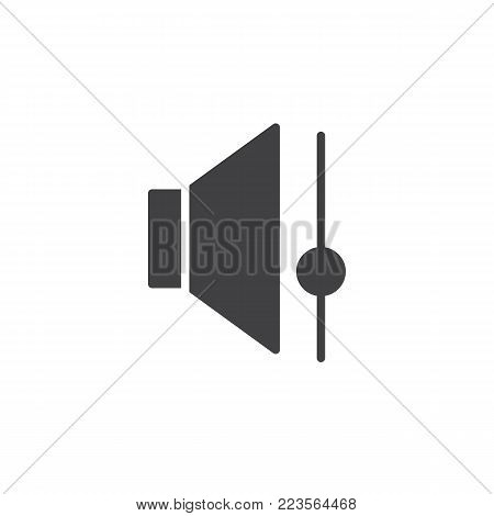 Speaker volume control icon vector, filled flat sign, solid pictogram isolated on white. Sound bar symbol, logo illustration.