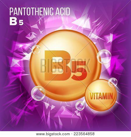 Vitamin B5 Pantothenic Acid Vector. Vitamin Gold Oil Pill Icon. Organic Vitamin Gold Pill Icon. Capsule, Golden Substance. For Beauty, Cosmetic Ads Design. Chemical Formula. Illustration