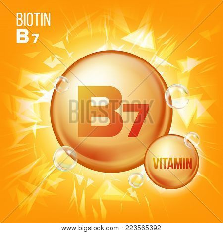 Vitamin B7 Biotin Vector. Vitamin Gold Oil Pill Icon. Organic Vitamin Gold Pill Icon. Medicine Capsule, Golden Substance. For Promo Ads Design. Vitamin Complex With Chemical Formula. Illustration