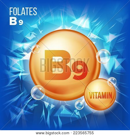 Vitamin B9 Folates Vector. Vitamin Gold Oil Pill Icon. Medicine Capsule, Golden Substance. For Beauty, Cosmetic, Heath Promo Ads Design. Vitamin Complex With Chemical Formula. Illustration