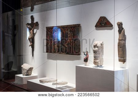 BARCELONA, SPAIN - 11 JANUARY 2018: Gaudi's exhibition center presents a permanent exhibition Walking with Gaudi where the architect's personal belongings and test models of his robot are presented.