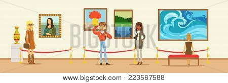 Museum visitors looking at the painting hanging on gallery wall, people viewing museum exhibit horizontal vector Illustration