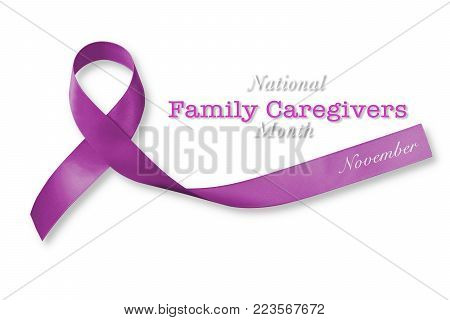 National Family Caregivers Month In November With Plum Purple Ribbon Awareness