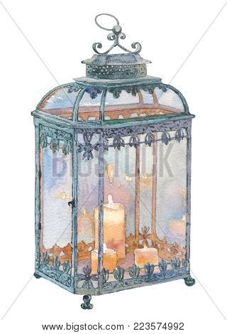 Winter holiday, traditional Christmas decoration, for greeting cards, invitations. New Year. Openwork metal lantern