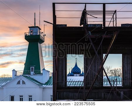 Fire Tower At Sunset. View Of The Suzdal Kremlin.