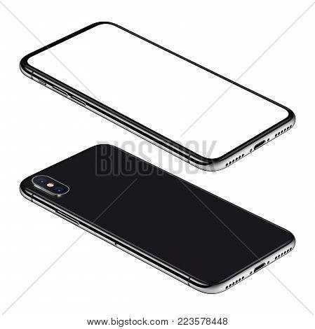 Similar to iPhone X black smartphone isometric mockup. Frameless smartphone front and back sides isometric view lies on surface. Smartphone Isolated on white background. 3D illustration.