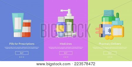 Vector online pharmacy slideshow template cards for buying medicines illustration