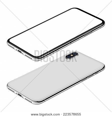 Similar to iPhone X white smartphone isometric mock-up. Frameless smartphone front and back sides isometric view lies on surface. Smartphone Isolated on white background. 3D illustration.