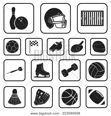 Different kinds of sports black icons in set collection for design. Sport equipment vector symbol stock  illustration.
