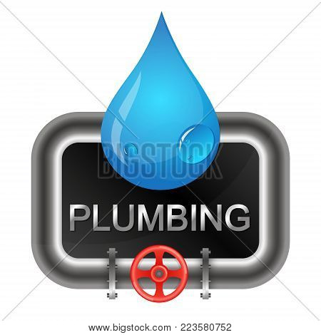 A drop of water and water pipes plumbing symbol