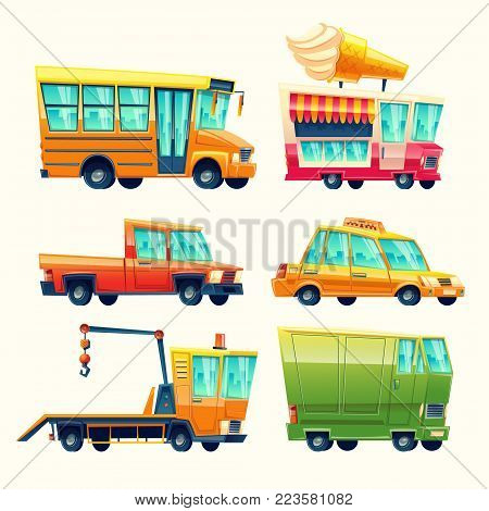 Transport vehicles vector cartoon icons. Isolated flat colorful public and passenger set of school bus or taxi and recovery tow truck, ice cream promo vending van and armored minivan or pickup car