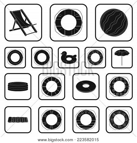 Multicolored swimming circle black icons in set collection for design. Different lifebuoys vector symbol stock illustration.