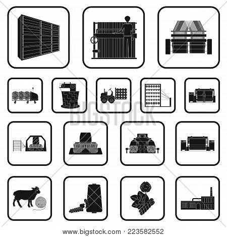 Textile industry black icons in set collection for design.Textile equipment and fabrics vector symbol stock  illustration.
