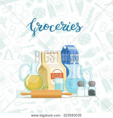 Vector cooking ingridients or groceries pile with lettering and monochrome flat style groceries background illustration