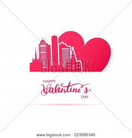 Red heart and silhouette of Barcelona city paper stickers. Valentine card in paper art style.