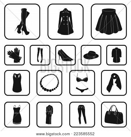 Women's Clothing black icons in set collection for design.Clothing Varieties and Accessories vector symbol stock  illustration.
