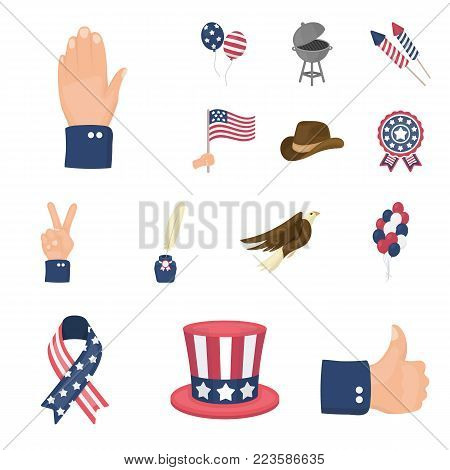 Day of Patriot, holiday cartoon icons in set collection for design. American tradition vector symbol stock  illustration.