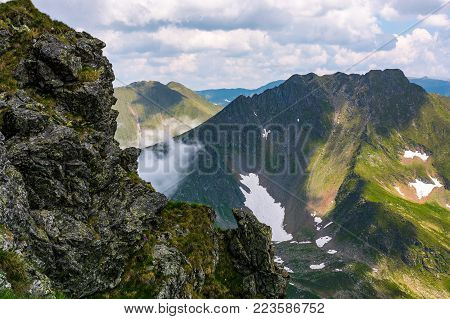rocky cliffs of Fagatas mountains in Romania. beautiful summer nature scenery