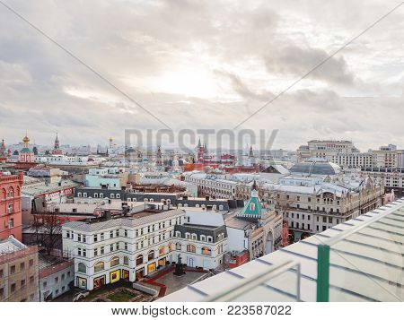 MOSCOW, RUSSIA - January 07, 2018. Panorama view on historic center of Moscow from Central Children Store. View on Zaikonospassky monastery, Metropol hotel, Kremlin, other landmarks.