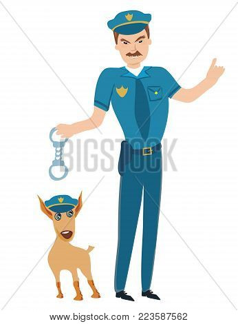 Policeman and his funny dog , vector illustration