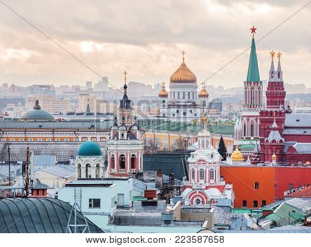 Aerial view on historic center of Moscow from Central Children Store. View on Zaikonospassky monastery, Main Department store, Cathedral of Christ the Saviour, Historic Museum, other landmarks. Moscow, Russia.