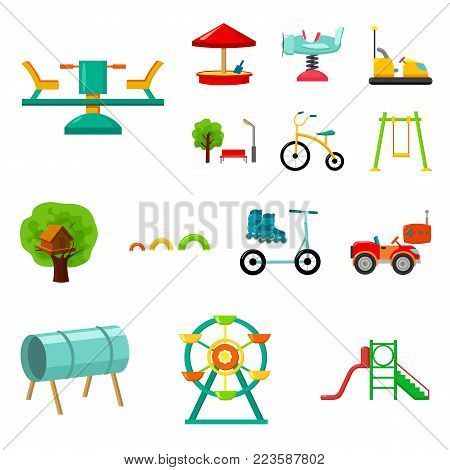 Playground, entertainment cartoon icons in set collection for design. Attraction and equipment vector symbol stock  illustration.