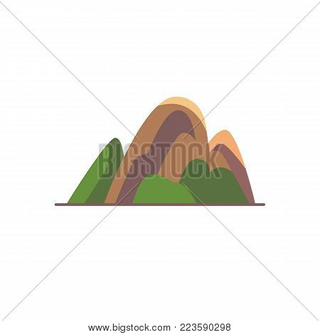 Hill icon in flat style. Colorful mountain symbol isolated on white background