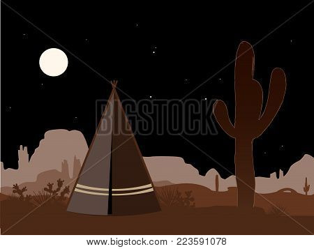Beautiful amd mystic illustration with indian tepee and saguaro cactus silhouette at night. Vector background, brown palette